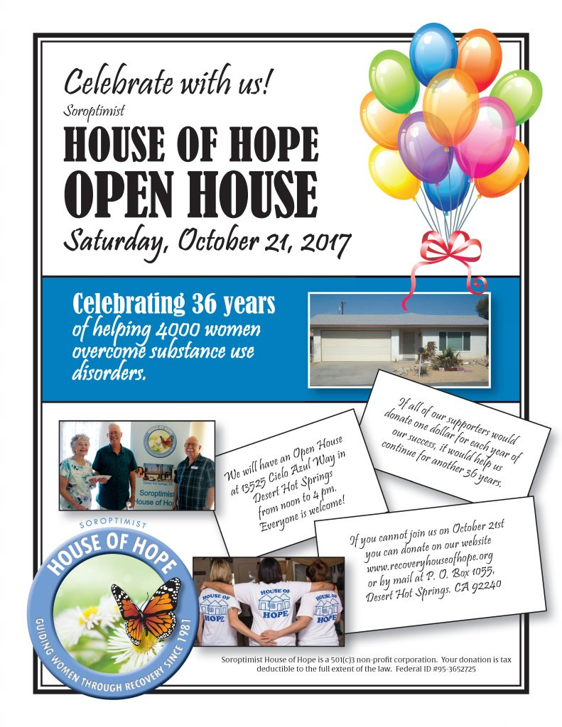 Join us! Soroptimist House of Hope is Celebrating 36 years and helping 4000 women overcome substance use disorders!