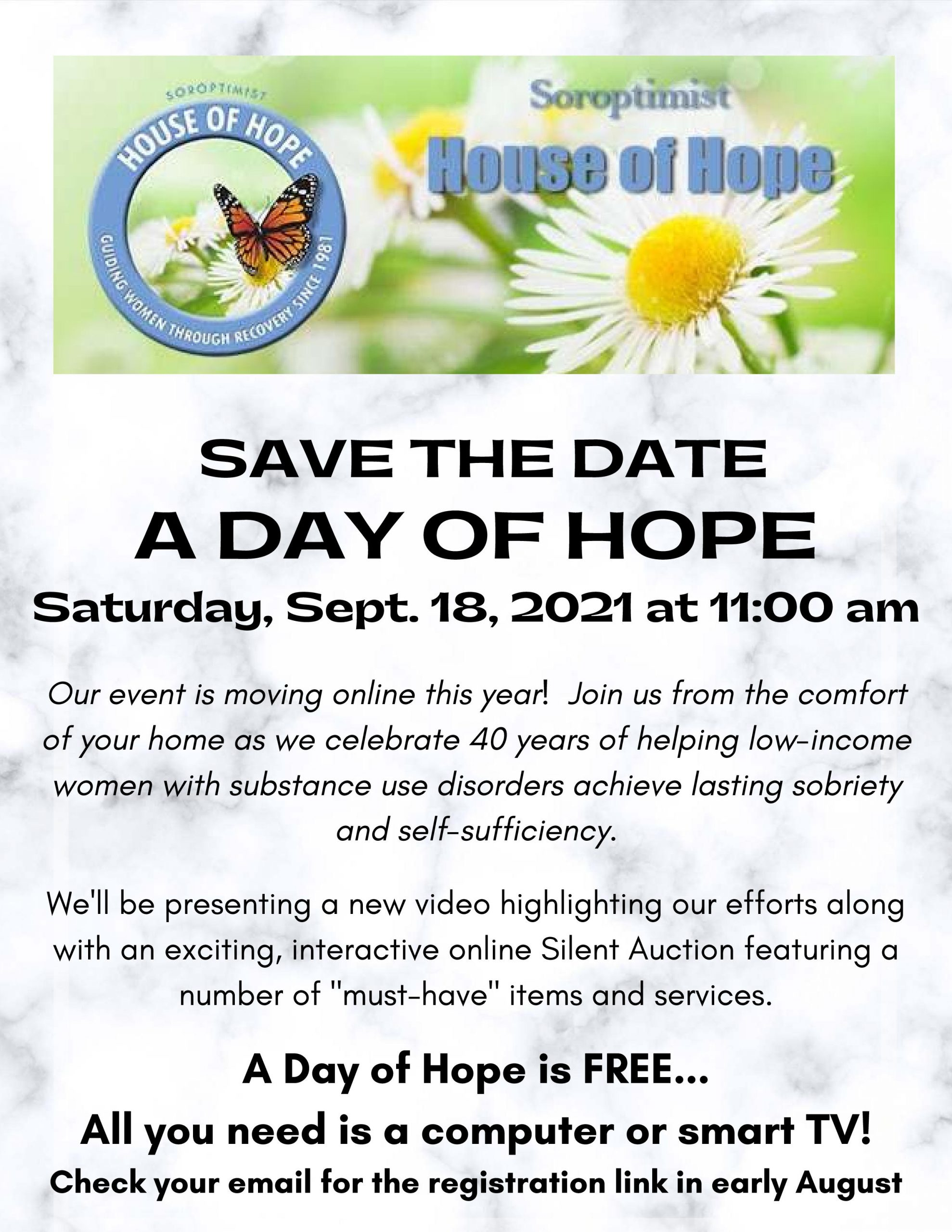 Save the date: A day of hope, Sept. 18th at 11:00 am